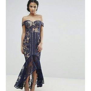 ASOS Jarlo Petite All Over Lace Off Fishtail Dress